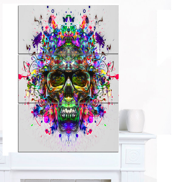 Designart Skull With Glasses And Paint Splashes Abstract Wall Art Canvas - 3 Panels