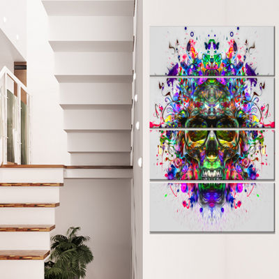 Designart Skull With Glasses And Paint Splashes Abstract Wall Art Canvas - 4 Panels