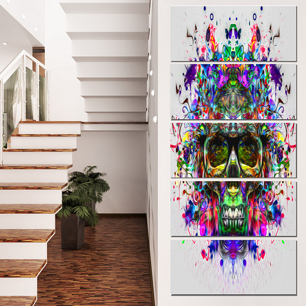 Designart Skull With Glasses And Paint Splashes Abstract Wall Art Canvas - 5 Panels