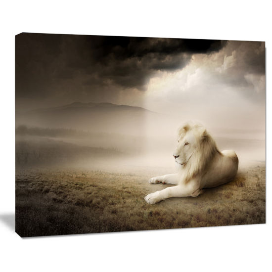 Designart King Of Animals At Sunset Animal CanvasWall Art