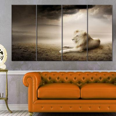 Design Art King Of Animals At Sunset Animal CanvasWall Art - 4 Panels