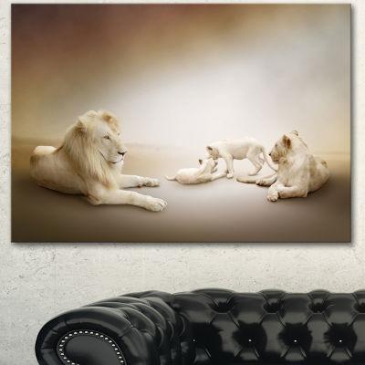 Designart White Lion Family Animal Canvas Wall Art
