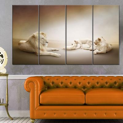 Designart White Lion Family Animal Canvas Wall Art- 4 Panels