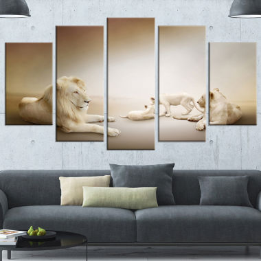 Design Art White Lion Family Animal Canvas Wall Art- 5 Panels
