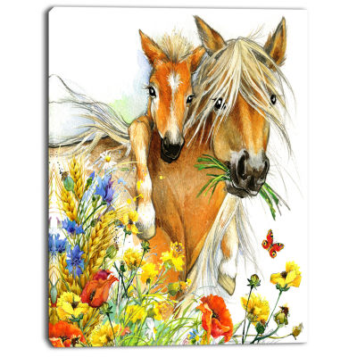 Designart Horse And Foal With Flowers Canvas Art Print