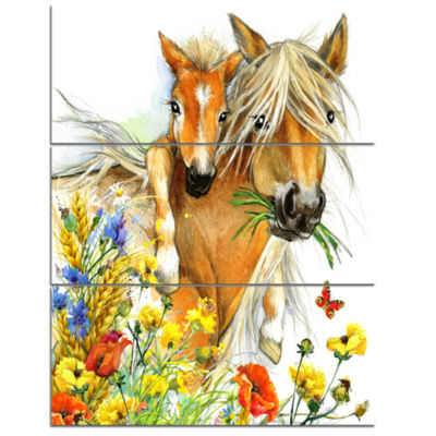 Designart Horse And Foal With Flowers Canvas Art Print - 3 Panels