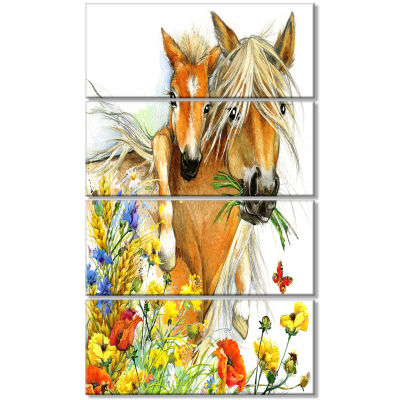 Designart Horse And Foal With Flowers Canvas ArtPrint - 4 Panels