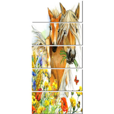 Designart Horse And Foal With Flowers Canvas Art Print - 5 Panels