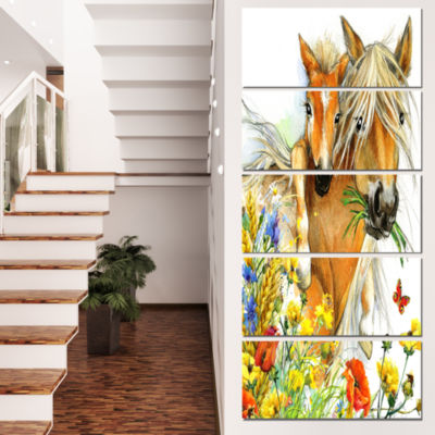 Designart Horse And Foal With Flowers Canvas ArtPrint - 5 Panels