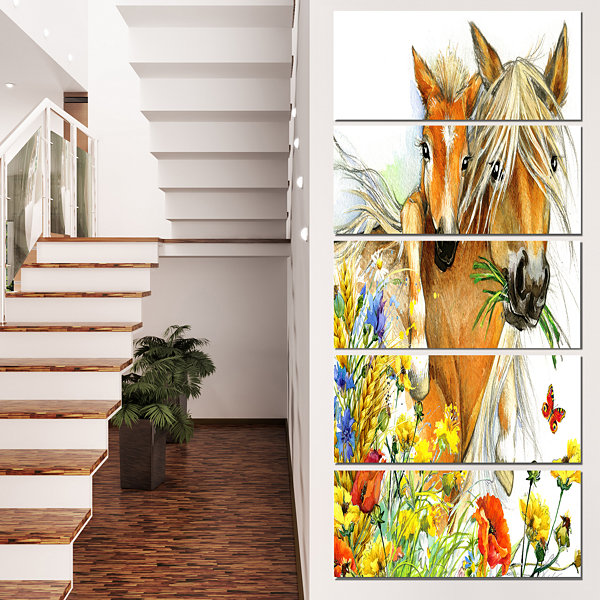 Design Art Horse And Foal With Flowers Canvas ArtPrint - 5 Panels
