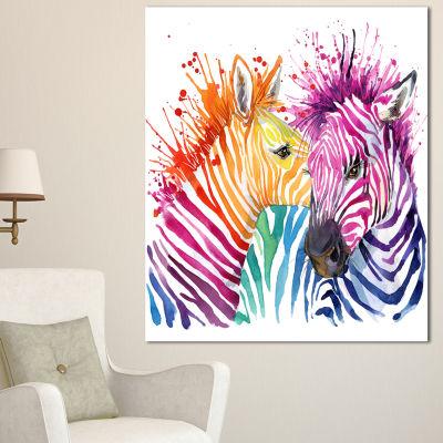 Design Art Funny Zebra Graphical Watercolor AnimalCanvas Art Print