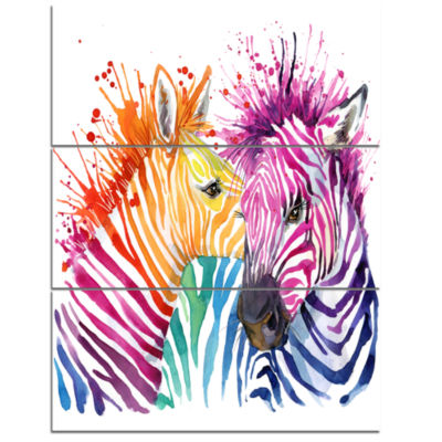 Designart Funny Zebra Graphical Watercolor AnimalCanvas Art Print - 3 Panels
