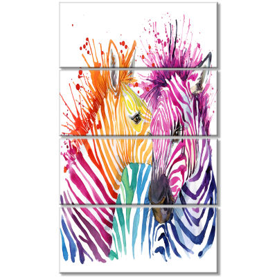 Design Art Funny Zebra Graphical Watercolor Animal Canvas Art Print - 4 Panels