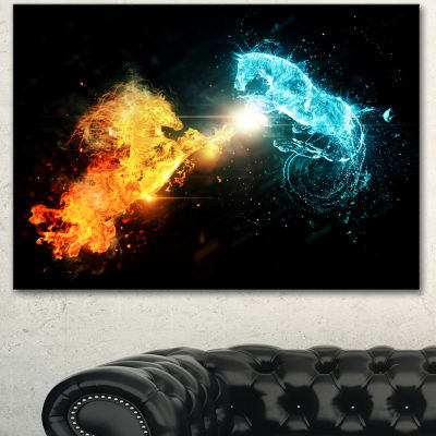 Designart Fire And Water Abstract Horses Animal Canvas Art Print