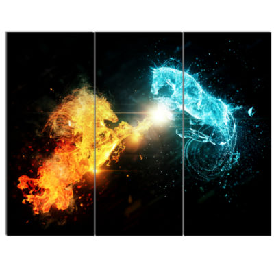 Designart Fire And Water Abstract Horses Animal Canvas Art Print - 3 Panels