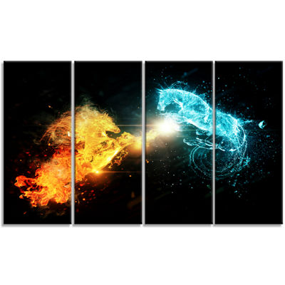 Designart Fire And Water Abstract Horses Animal Canvas Art Print - 4 Panels