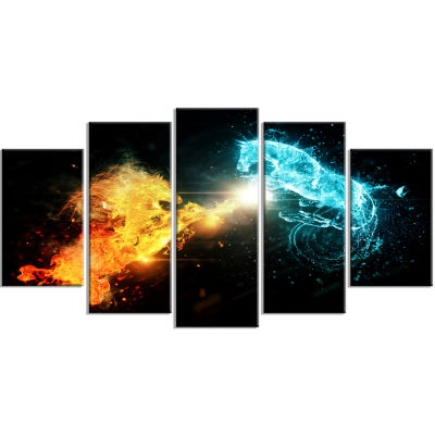 Design Art Fire And Water Abstract Horses Animal Canvas Art Print - 5 Panels