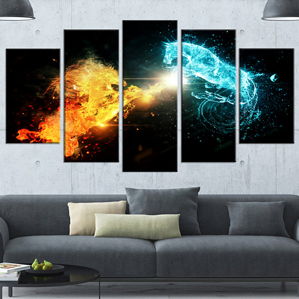 Designart Fire And Water Abstract Horses Animal Canvas Art Print - 5 Panels