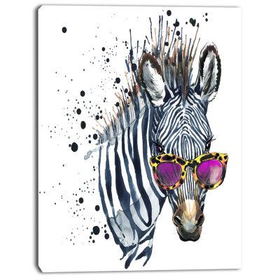 Designart Funny Zebra Watercolor Animal Canvas ArtPrint