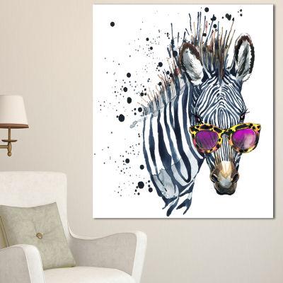 Designart Funny Zebra Watercolor Animal Canvas Art Print