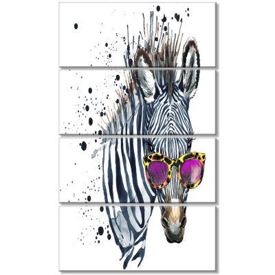 Design Art Funny Zebra Watercolor Animal Canvas Art Print - 4 Panels