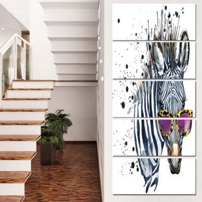 Designart Funny Zebra Watercolor Animal Canvas ArtPrint - 5 Panels