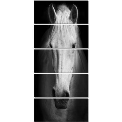 Designart White Horse Black And White Animal Canvas Art Print - 5 Panels