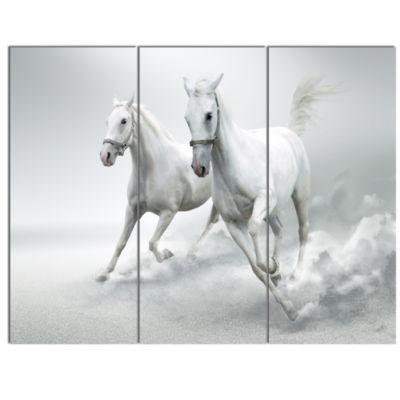 Design Art Running White Horses Animal Canvas ArtPrint - 3 Panels