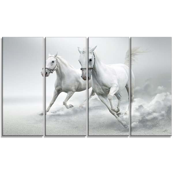 Design Art Running White Horses Animal Canvas ArtPrint - 4 Panels