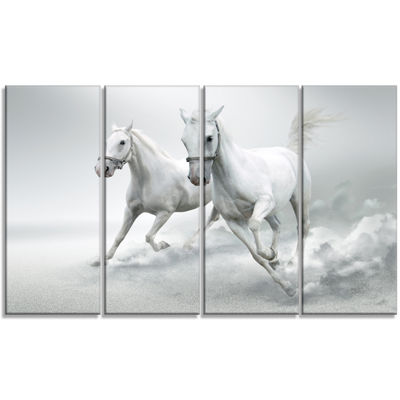 Designart Running White Horses Animal Canvas ArtPrint - 4 Panels