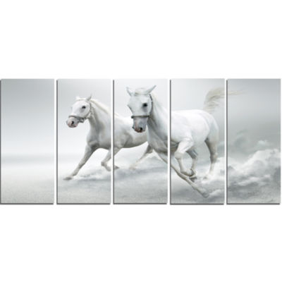 Designart Running White Horses Animal Canvas Art Print - 5 Panels