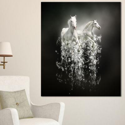 Designart Fantasy White Horses On Black Animal Canvas Art Print