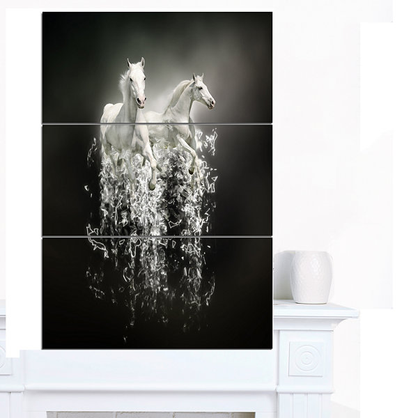 Designart Fantasy White Horses On Black Animal Canvas Art Print - 3 Panels