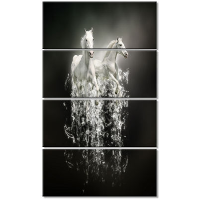 Designart Fantasy White Horses On Black Animal Canvas Art Print - 4 Panels