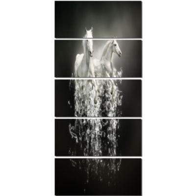 Design Art Fantasy White Horses On Black Animal Canvas Art Print - 5 Panels