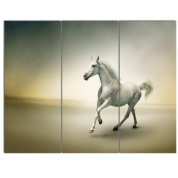 Designart White Horse In Motion Animal Canvas ArtPrint - 3 Panels
