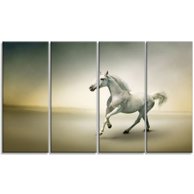 Designart White Horse In Motion Animal Canvas ArtPrint - 4 Panels