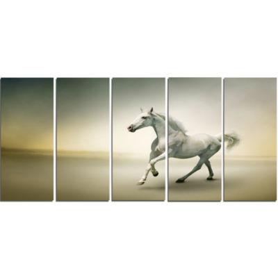 Designart White Horse In Motion Animal Canvas ArtPrint - 5 Panels