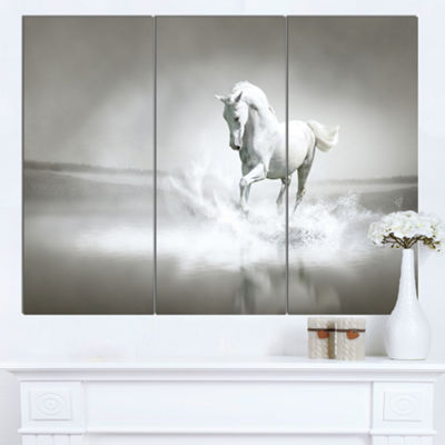 Designart White Horse Running In Water Animal Canvas Art Print - 3 Panels