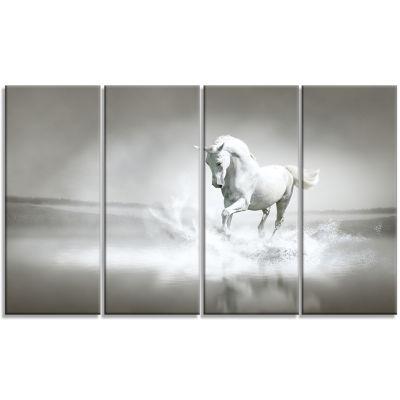 Design Art White Horse Running In Water Animal Canvas Art Print - 4 Panels