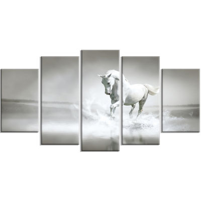 Design Art White Horse Running In Water Animal Canvas Art Print - 5 Panels