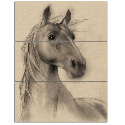 Designart Horse Head Illustration Animal Canvas Art Print - 3 Panels