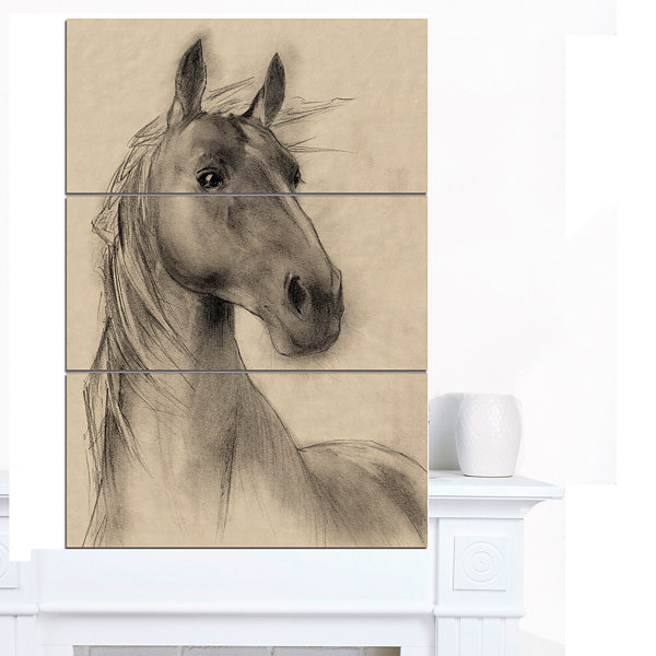 Designart Horse Head Illustration Animal Canvas Art Print - 3 Panels