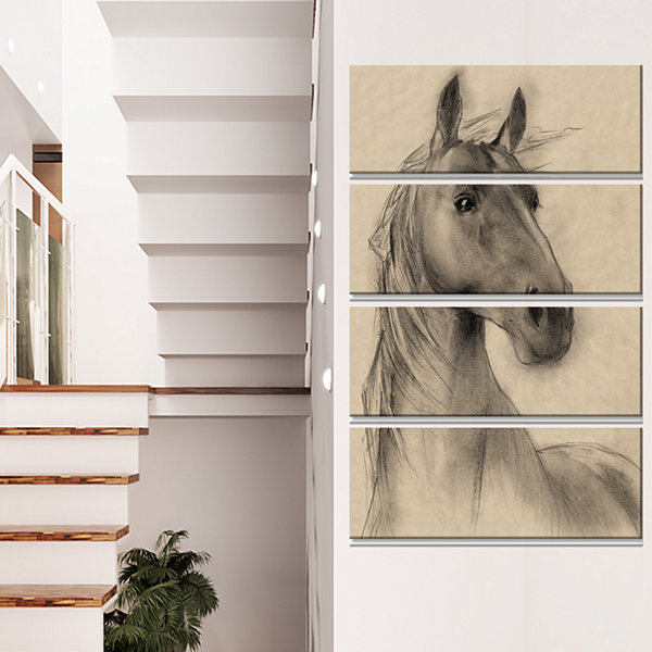 Designart Horse Head Illustration Animal Canvas Art Print - 4 Panels