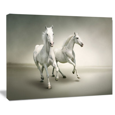Designart Fast Moving White Horses Animal Canvas Art Print