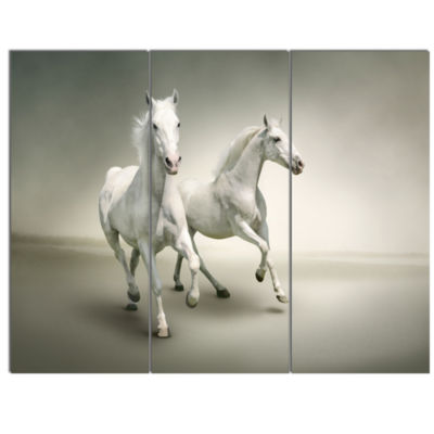 Design Art Fast Moving White Horses Animal CanvasArt Print - 3 Panels