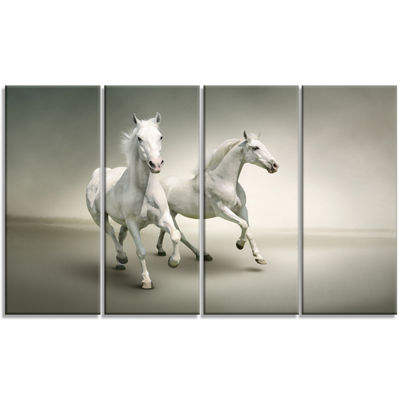 Designart Fast Moving White Horses Animal CanvasArt Print - 4 Panels