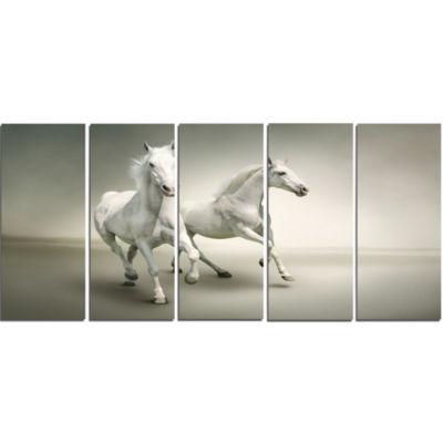 Designart Fast Moving White Horses Animal Canvas Art Print - 5 Panels