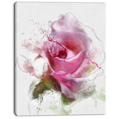 Design Art Pink Rose Flower Watercolor Canvas Art Print