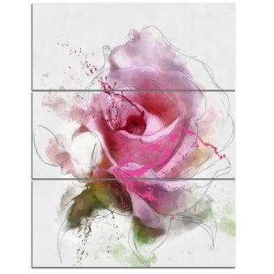 Design Art Pink Rose Flower Watercolor Canvas Art Print - 3 Panels